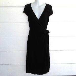 BCBG Maxazria Black Wrap Rayon Blend Dress Medium